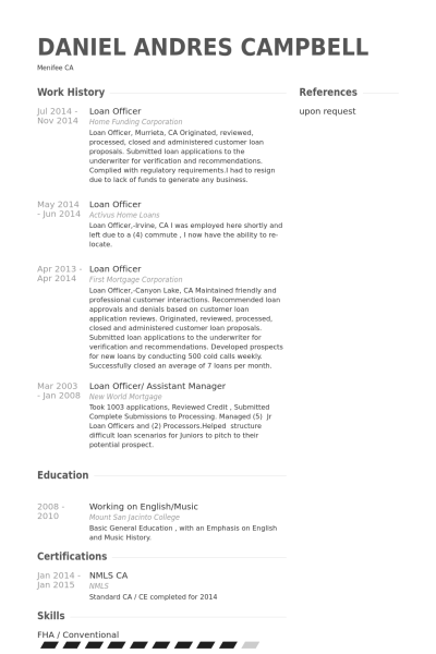Senior Mortgage Loan Originator Resume Copywriterbranding X Fc2