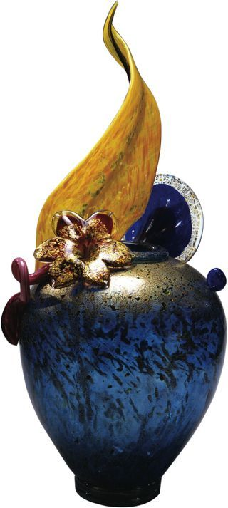 Dale Chihuly. Gold Over Turquoise Blue Venetian Glass Vase