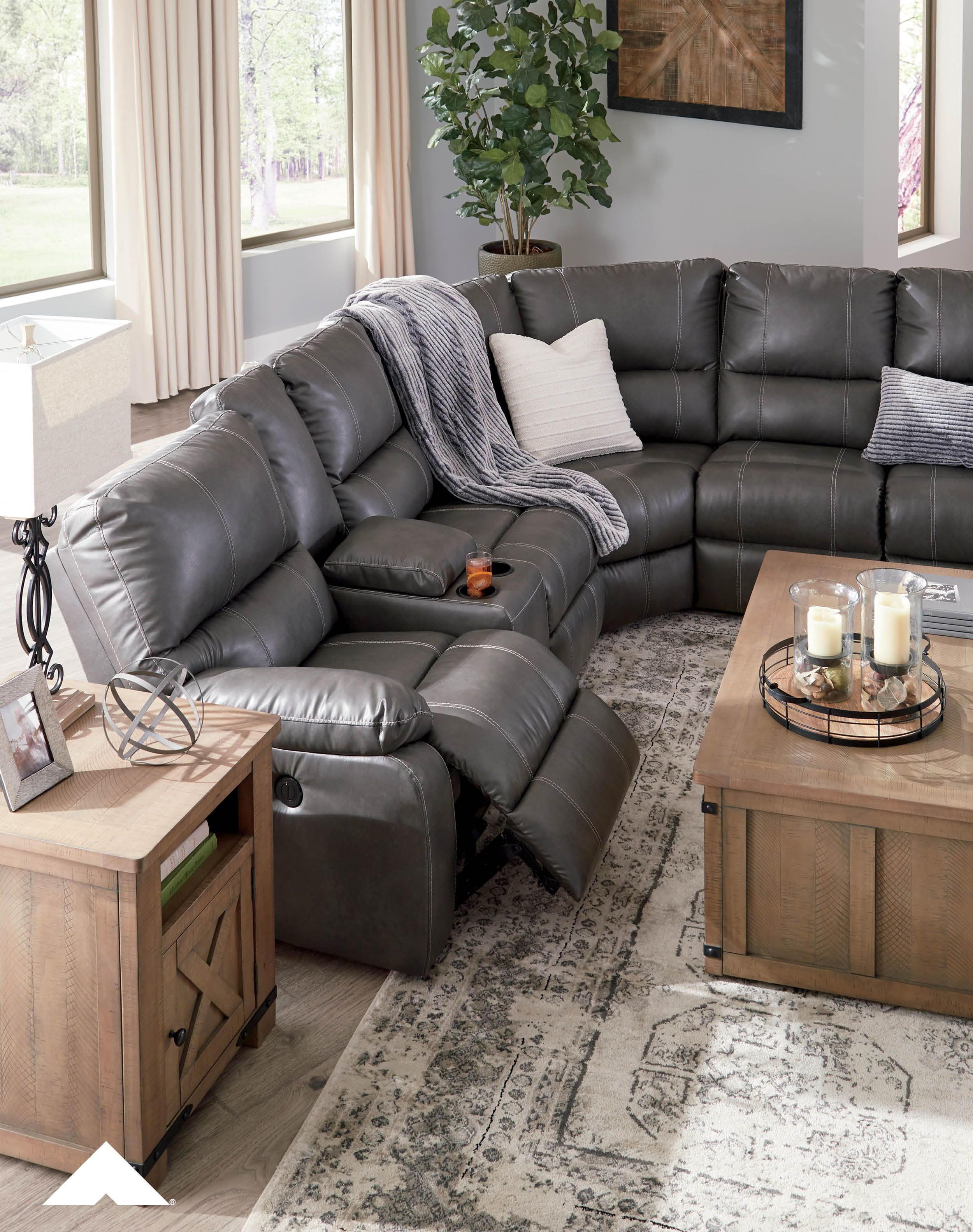 warstein gray reclining sectional by