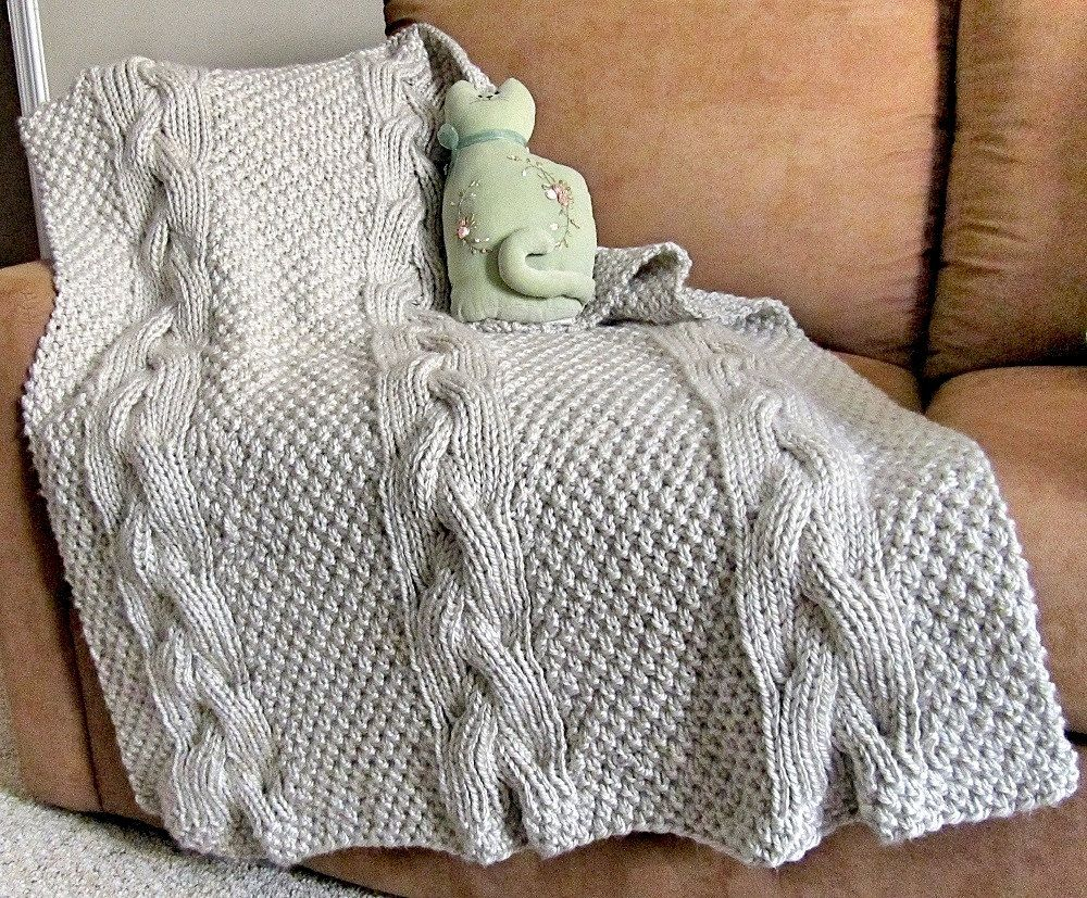 Baby\'s Reversible Cable Knit Blanket PDF Pattern | Cable knit ...