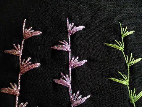 Muestra un ejemplo de bordado con cintas de flores de organza con Puntada Japonesa.