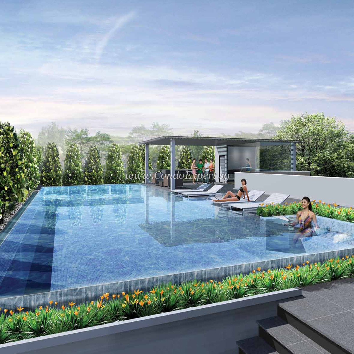Pool trendy noticeable rooftop swimming pool exterior for Rooftop swimming pool