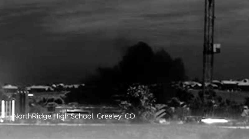 Image of methane pollution from the oil and gas industry that has been taken with an infrared camera that makes methane pollution, which is invisible to the naked eye, visible.