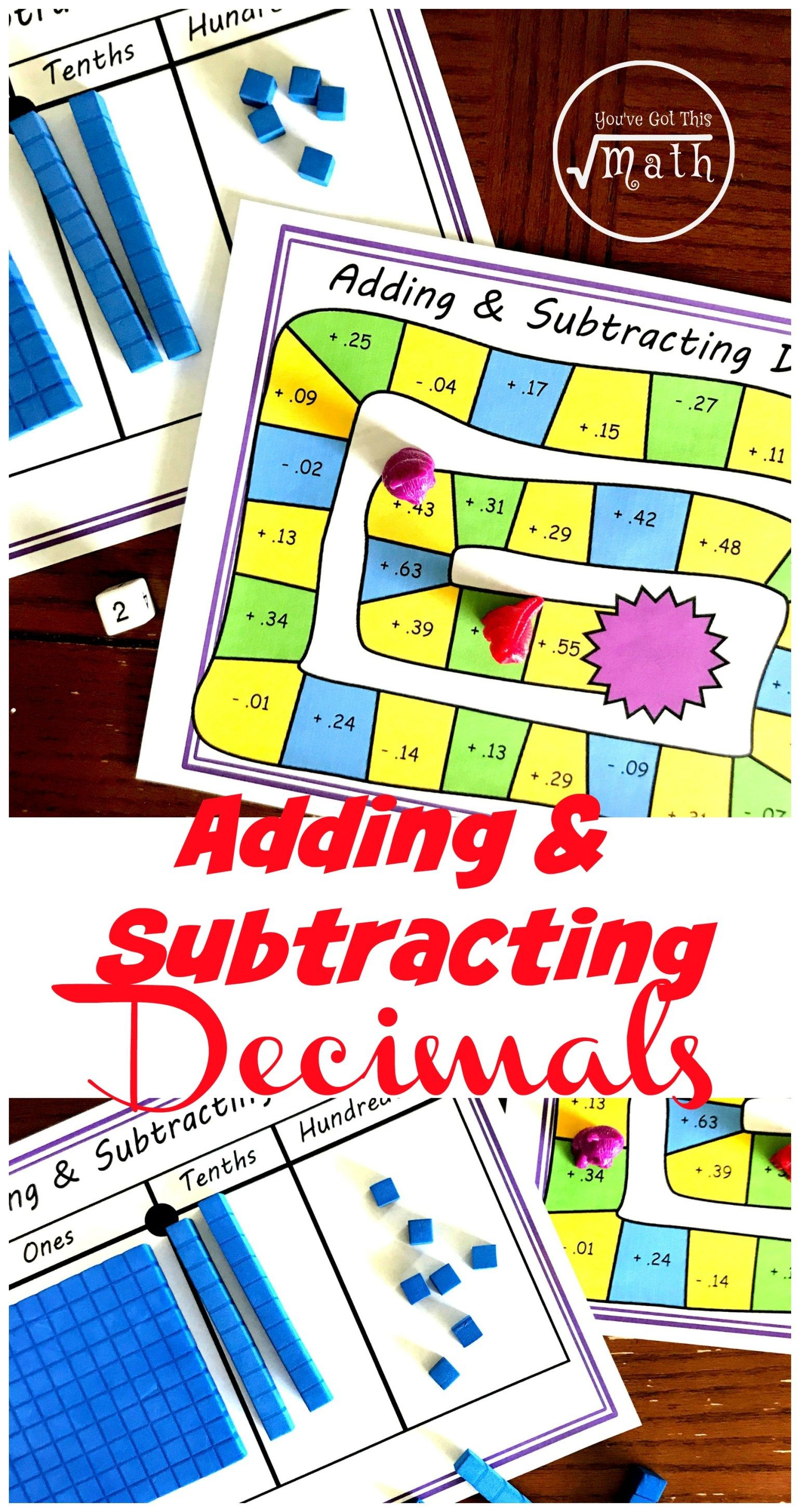 Free No Prep Adding And Subtracting Decimal Game Using