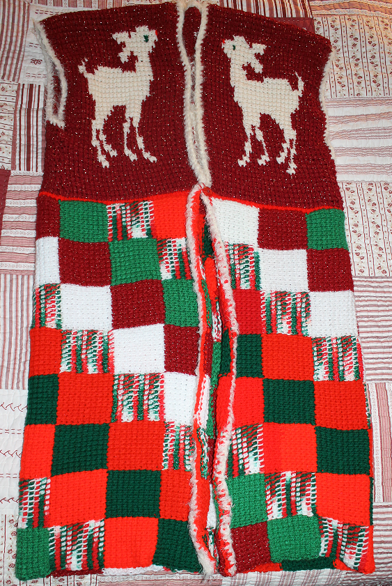 The front of rudolph christmas sweater vest. Crocheted.