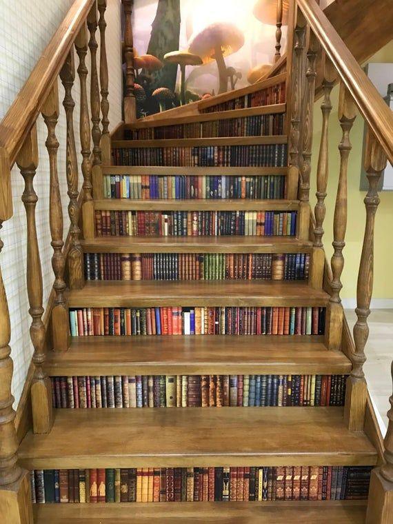 Old Books Floor Sticker, Set of 9 Floor Decal, Dec