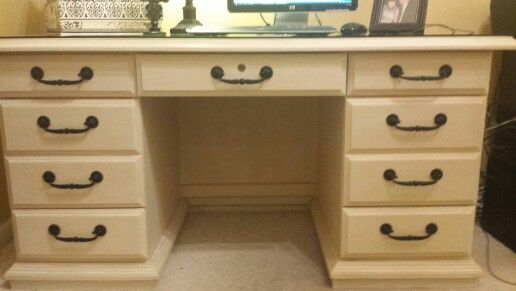 Beau My Office Desk Painted In Mud Paint And Glazed. It Has Great Storage!