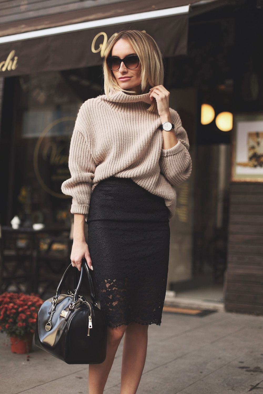 2015 Guess by Marciano skirt, knitwear available in Afi Cotroceni/ / DKNY bag / Daniel Wellington watch