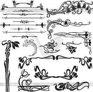 Орнаменты модерна - изображение в векторном формате | Art nouveau ...