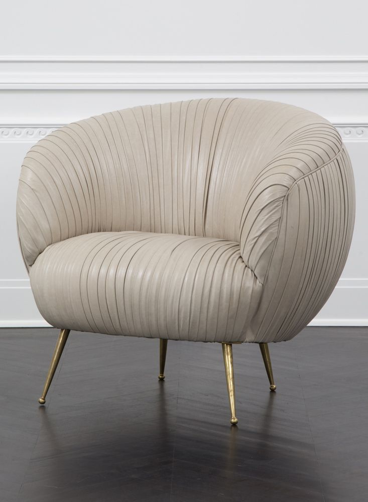 Kelly Wearstler Leather Souffle Chair Exquisitely Detailed Lambskin On Tapered Legs Of Solid Cast Br