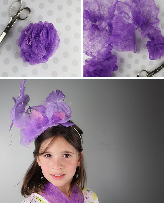 95b1476f75b DIY Fascinator using a loofah and other supplies from the dollar store!