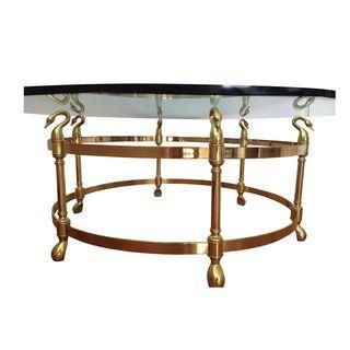 A vintage La Barge swan s head coffee table The table features a