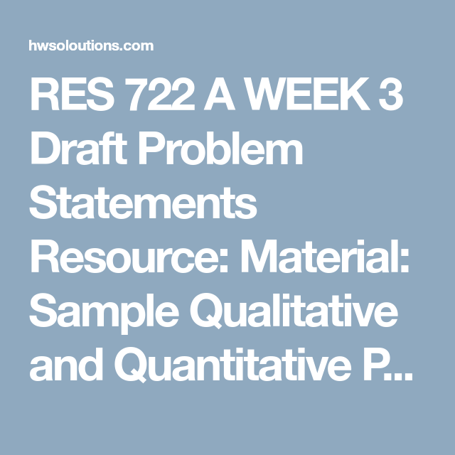 Res  A Week  Draft Problem Statements Resource Material