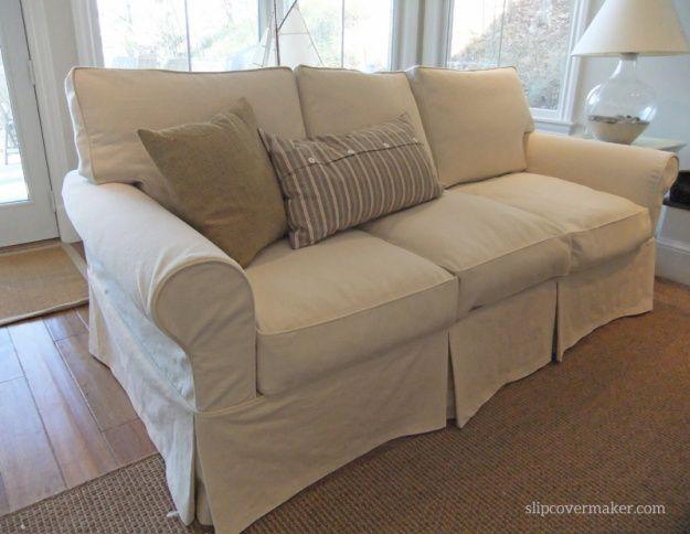 Washable Natural Denim Slipcovers For Lakeside Living Interior