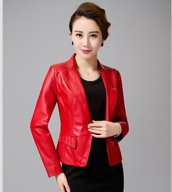 900ce5e0d1 Women s Leather Jacket 2017 Spring Blazer Outerwear Plus Size S-4XL One  Button Suit Leather Coat Red Turn-down Collar Clothing
