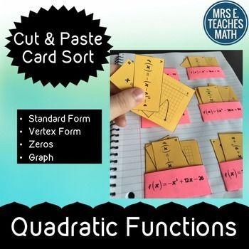 Quadratic Functions Card Sort Algebra Math And Standard Form