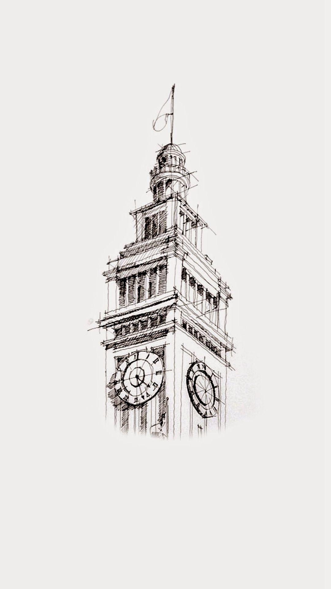 Big Ben Sketch Art Drawn Iphone 6 Plus Wallpaper