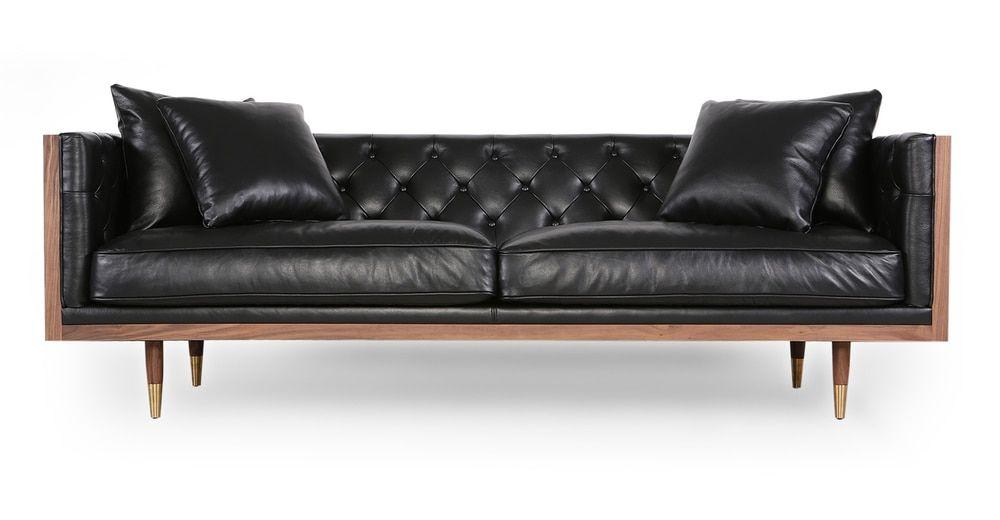 Woodrow Neo 87 Leather Sofa Walnut Black Aniline In 2020 Mid Century Modern Leather Sofa Mid Century Modern Sofa Leather Sofa