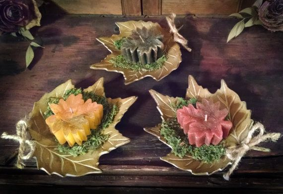 Autumn Fall Leaf Candle Trio with Ceramic Leaf by journeybydesign