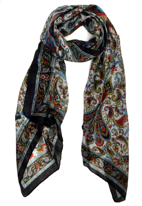 Paisley Silk Scarf Black Blue And Red Wrap 100 Silk Kashmiri Scarf Head Scarf Block Printed Scarf Paisley Fabric Block Print Scarf Unique Scarfs Fashion