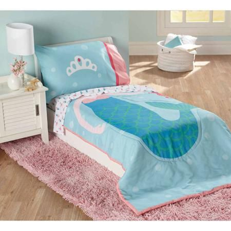 Child Of Mine By Carter S Mermaid 4 Piece Toddler Bedding Set Toddler Bed Set Toddler Bed Girl Mermaid Toddler Bedding