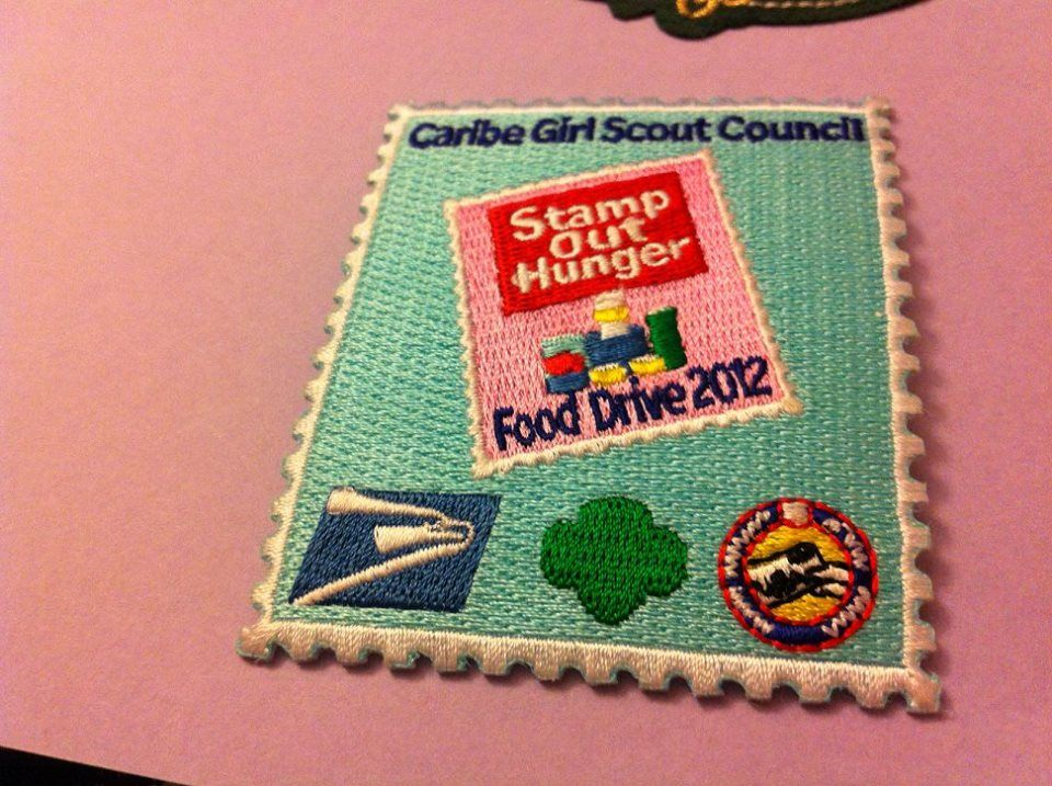 Girl Scout Caribe 100th Anniversary Patch. Stamp Out Hunger. Photo from Victoria Bagworth.