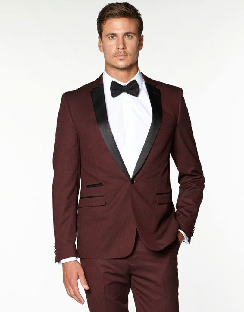 red black tuxedo fr weddng suit men bridegroom suits burgundy ...