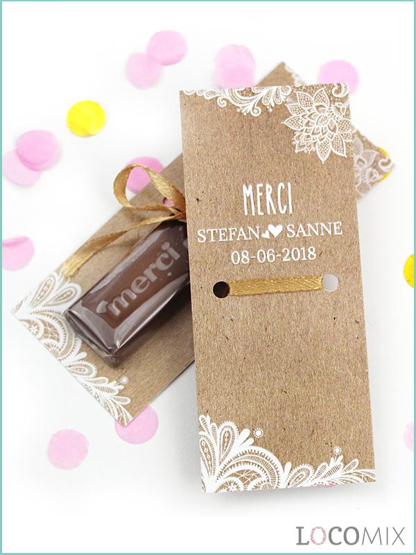 Ongebruikt Gepersonaliseerde Merci Chocolade bedankjes | Huwelijks bedankjes DD-82