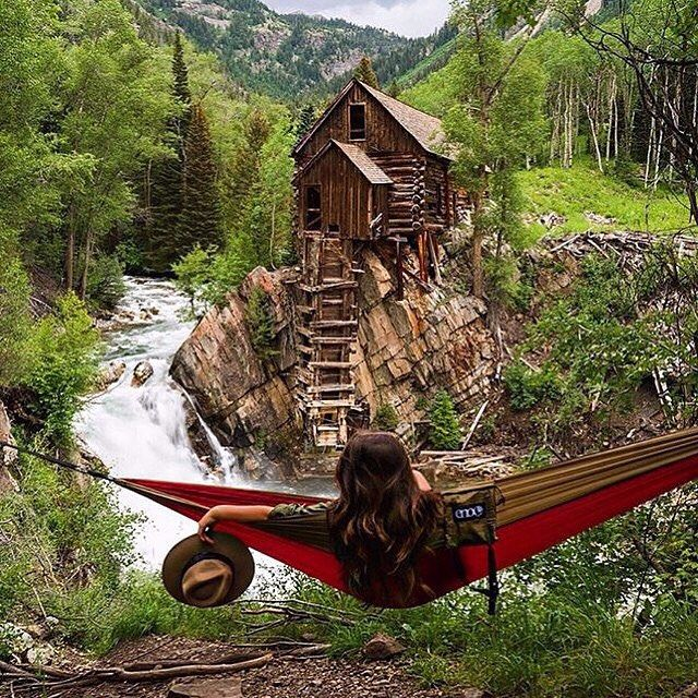 Relaxing at the Crystal River Mill in Marble, Colorado