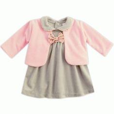 Ensemble bébé fille robe en velours gris + gilet rose  662ef1fff28
