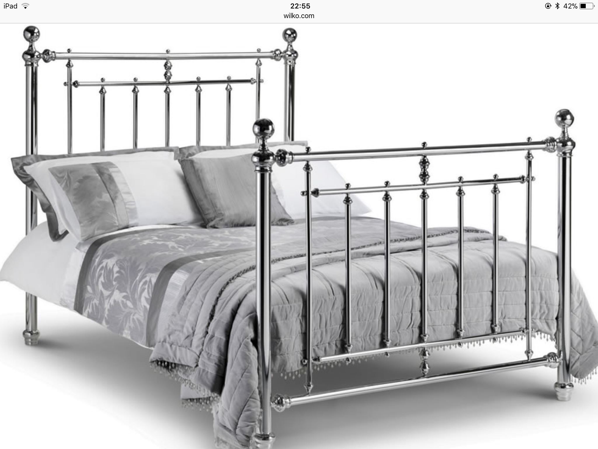 Silver Chrome Bed King Size Bed Frame Bed Frame Metal Bed Frame