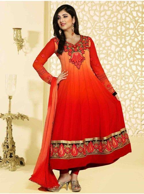 Buy Dark Orange Georgette Anarkali Suit With Resham And Zari Embroidery Work Designer Zena Collection Online In India - saree.com