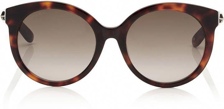 c23bee0b4a Jimmy Choo ASTAR Dark Havana Oversized Sunglasses with Gold Star Detailing   JimmyChoo