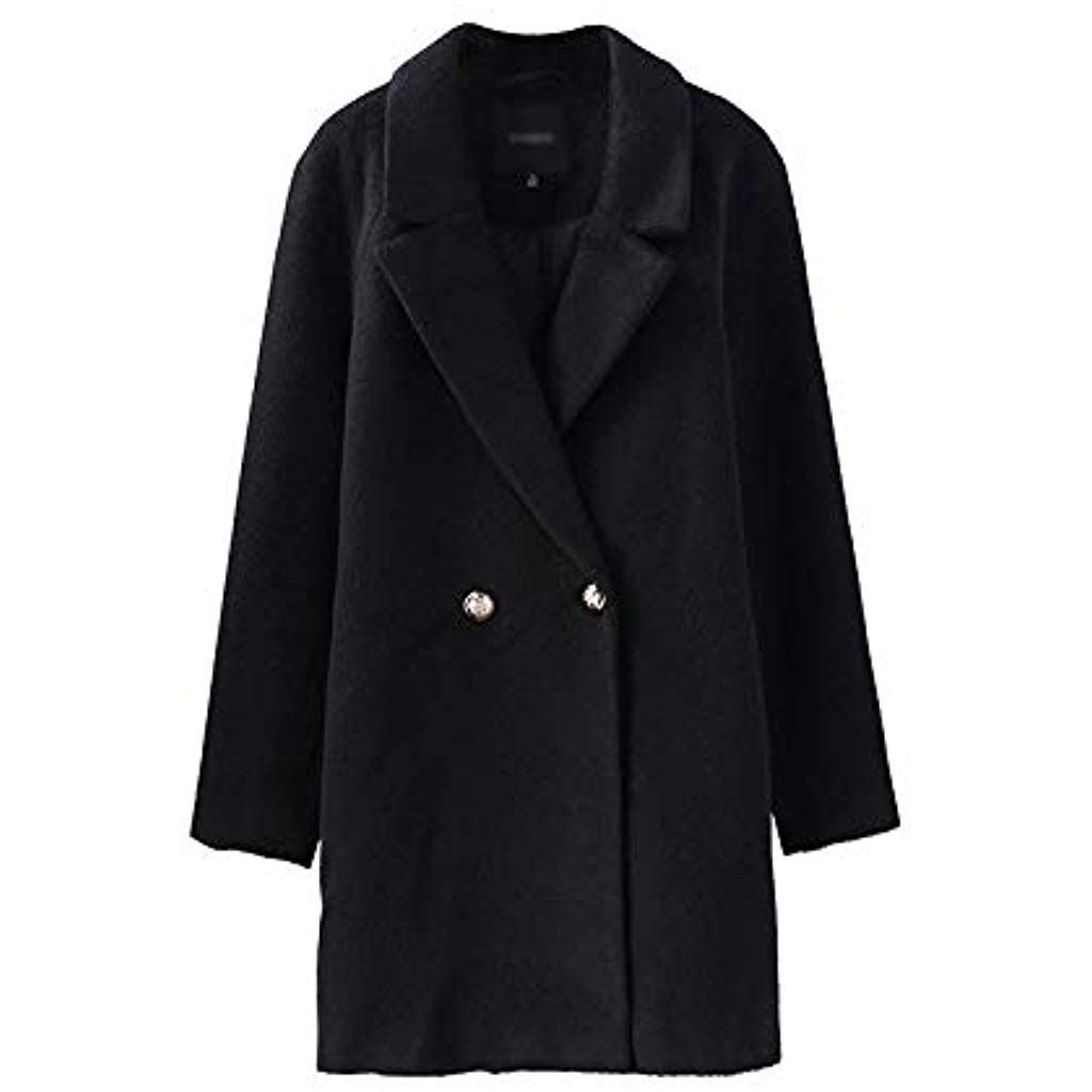 Mode Damen Double Breasted Slim Wollmantel Lang Trenchcoat Jacke Mantel Outwear