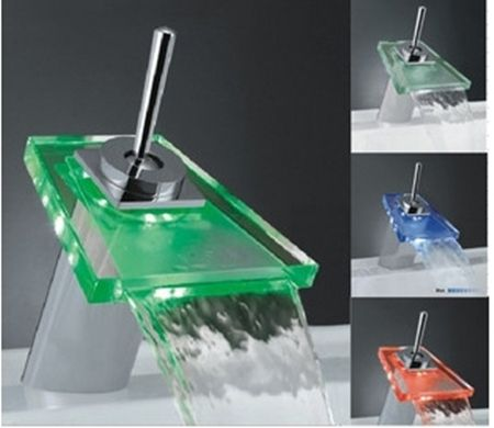 Best Selling Single Handle Mount LED Glass Waterfall Bathroom Sink ...