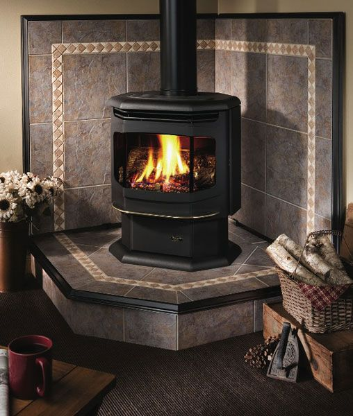 Tile Behind Wood Stoves Our Installers Handle It All From The Fire Box To The Stone Work Pellet Stove Wood Stove Fireplace Corner Wood Stove