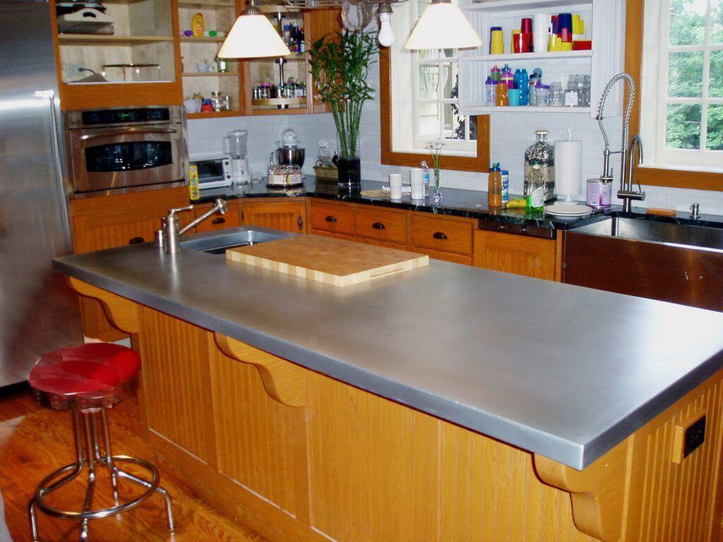zinc countertop on a traditional kitchen island zinc countertops zinc countertops kitchen on kitchen zinc id=15560