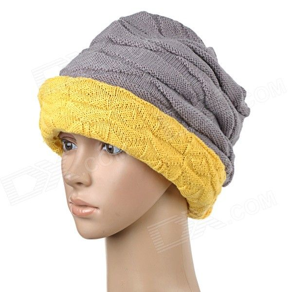 TOPCYCLING TOP011 Winter Double-Sided Wear Knit Wool Street Dance / Hip-Hop Warm Hat - Ginger   Grey Price: $7.86