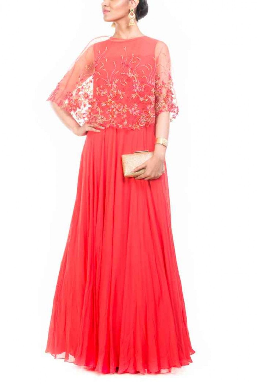 Tomato red gown with embroidered cape indian ethnic gowns
