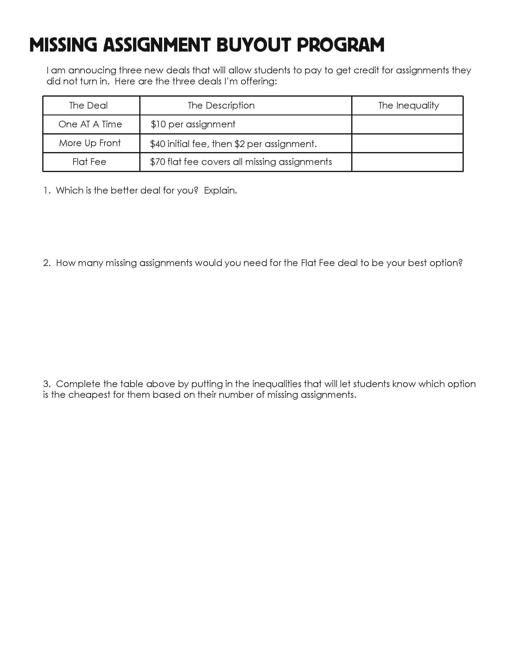 Missing Assignment Buyout Program Algebra 1 Exponent Worksheets Algebra Worksheets