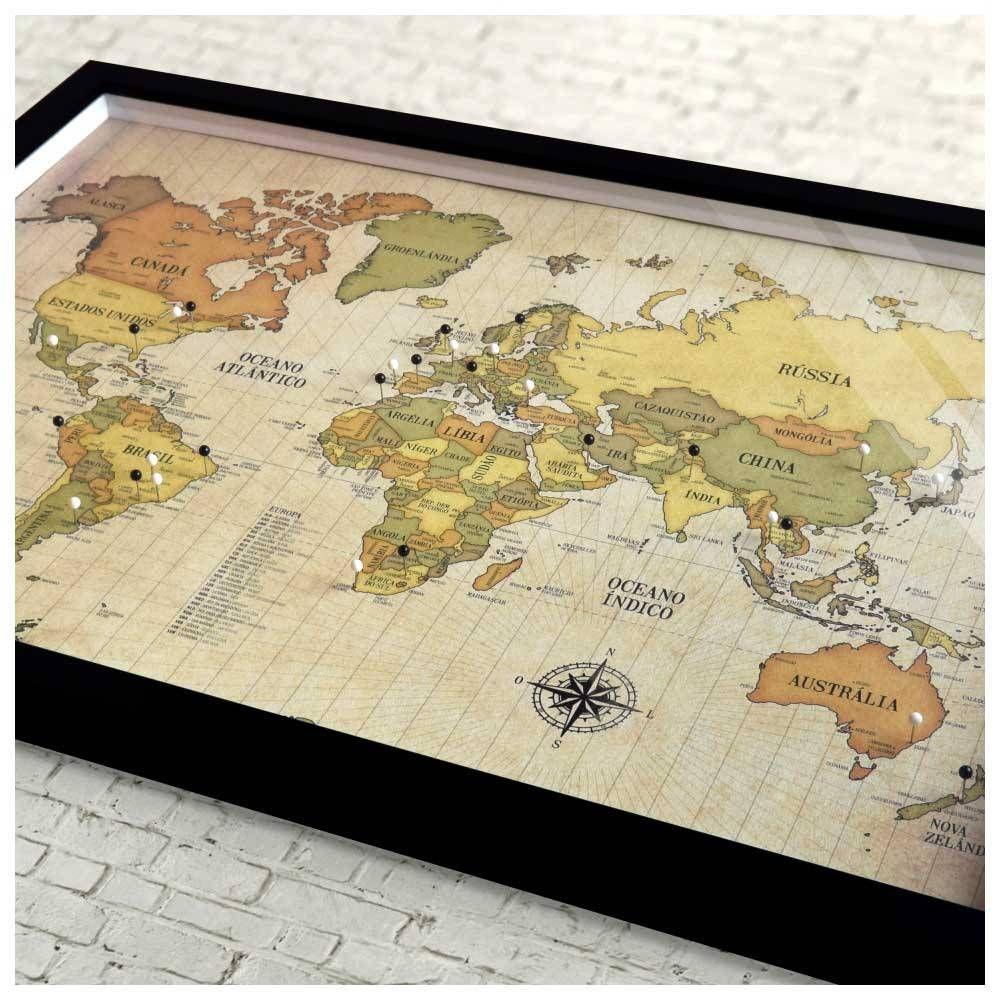 Quadro Box G Mapa Mundi Retro 100 Pins Alfinetes Para Marcar