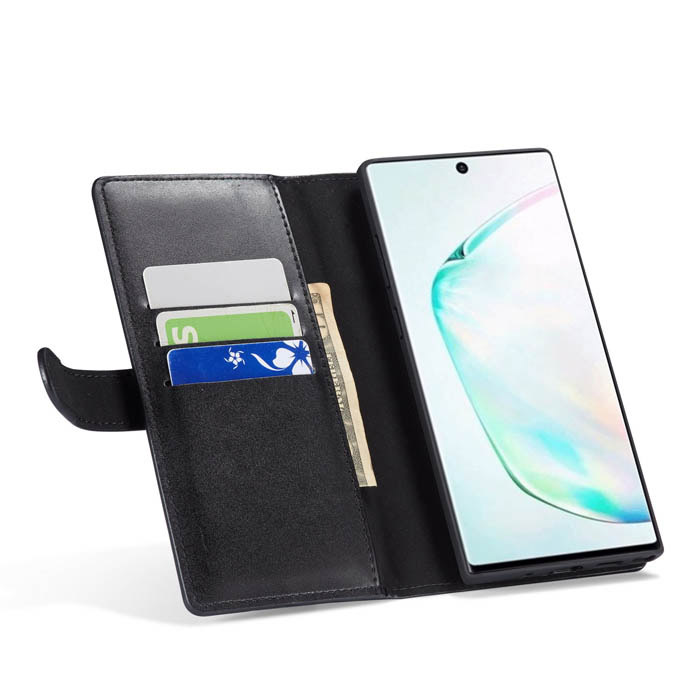 Samsung Galaxy Note 10 Zipper Wallet Magnetic Case Black