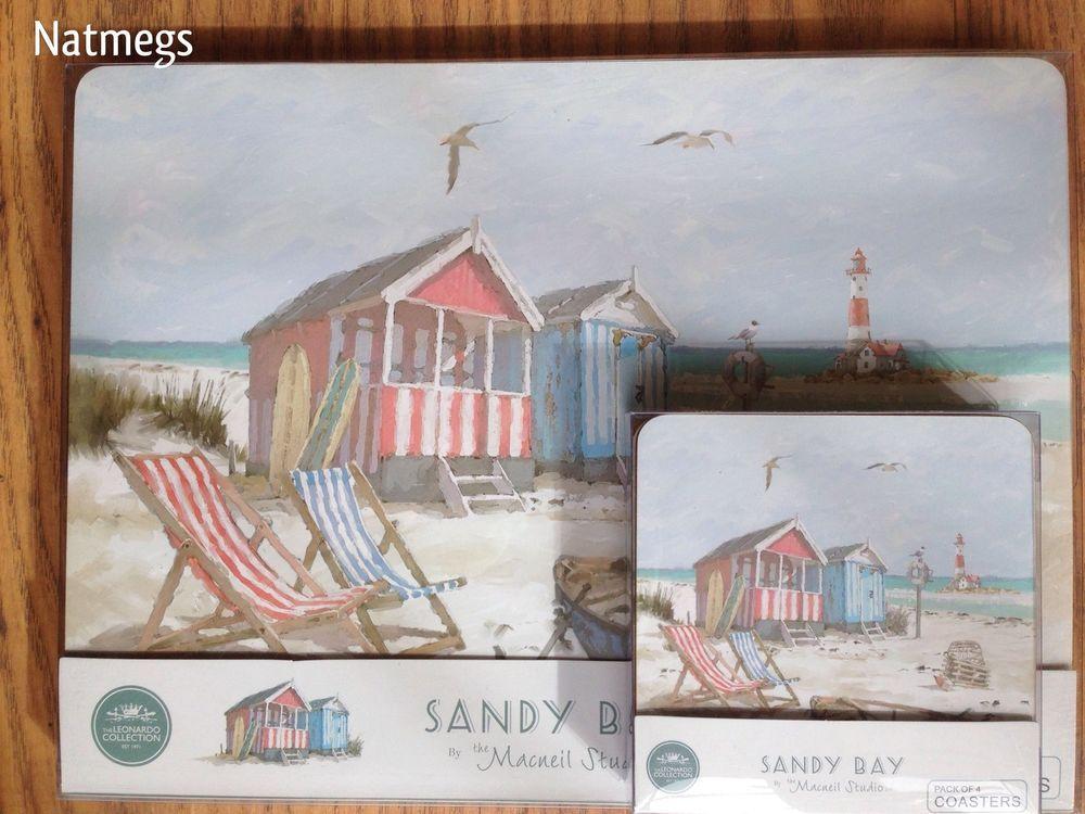 MACNEIL SANDY BAY BEACH PLACEMAT COASTER SET FOUR~BEACH HOLS SCENE~FREE PP UK