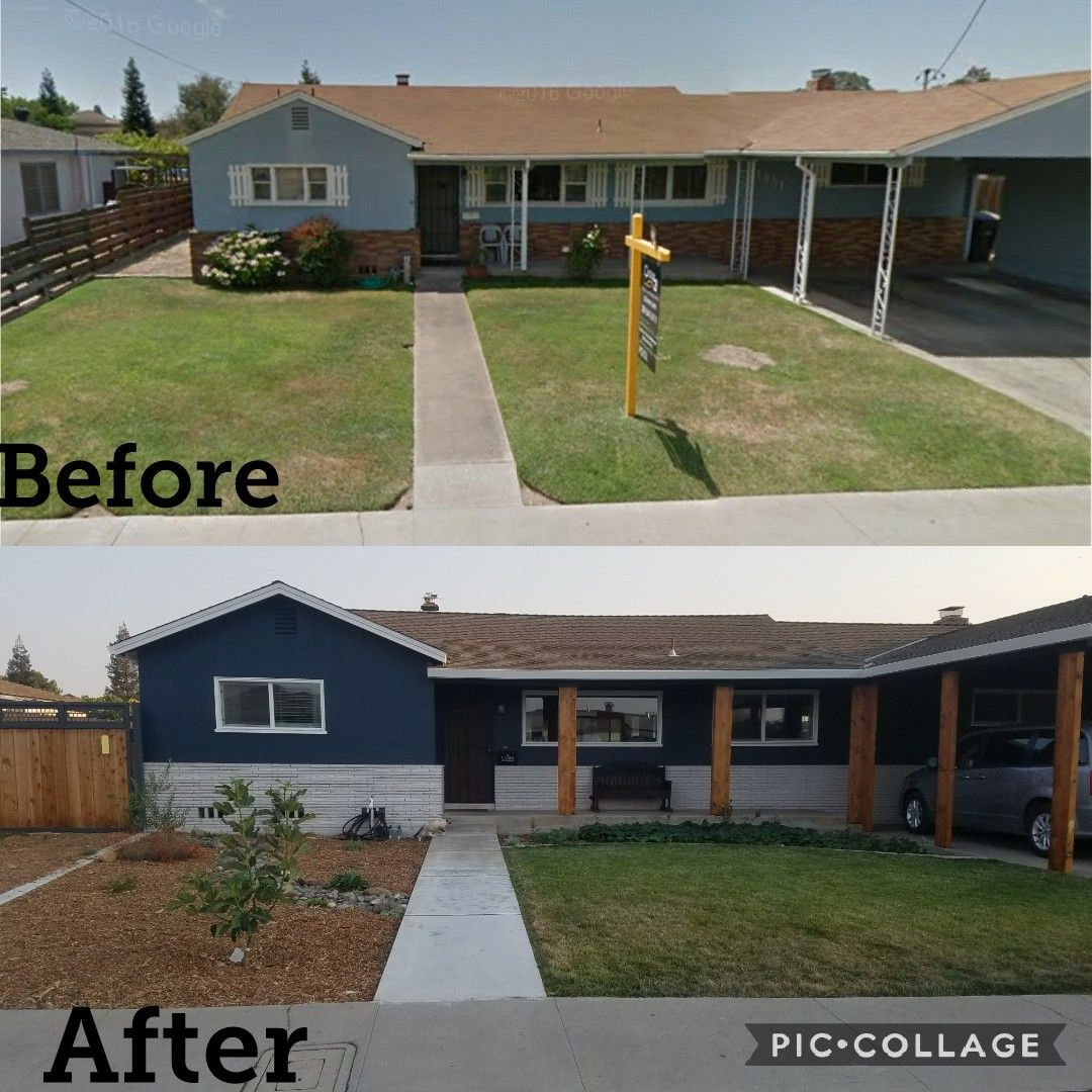 Sherwin Williams Mt Etna Snowbound And Alpaca Remodel Cedar Maple Colored Posts Navy Blue Ext House Exterior Blue Brick Exterior House Ranch House Exterior