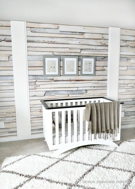 Whitewashed Wood Wallpaper Accent Wall Taryn Whiteaker Wood Wallpaper Nursery Accent Wall Modern Nursery