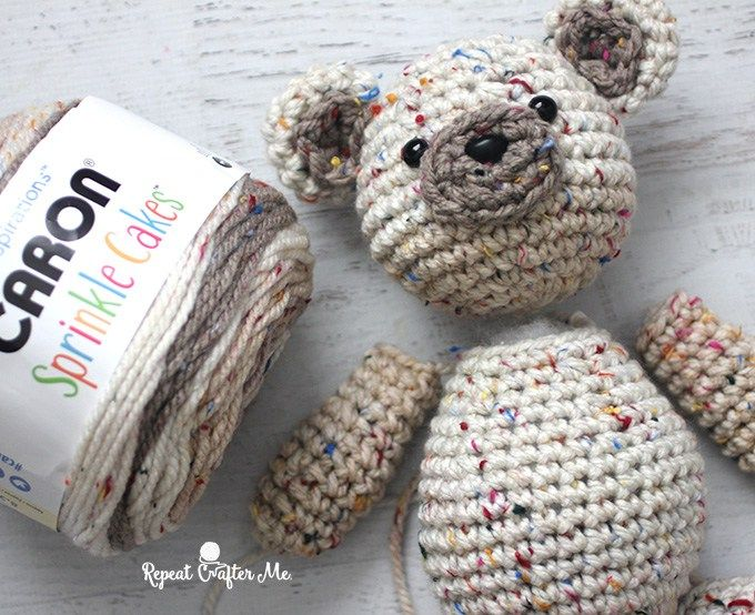Caron Sprinkle Cakes Crochet Birthday Bear | Amigurumi | Pinterest