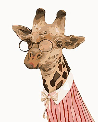 YEESAM ART New Release Paint by Number Kits for Adults Kids  Giraffe Dr Deer 16x20 inch Linen Canvas With Wooden Frame *** Check this awesome product by going to the link at the image.