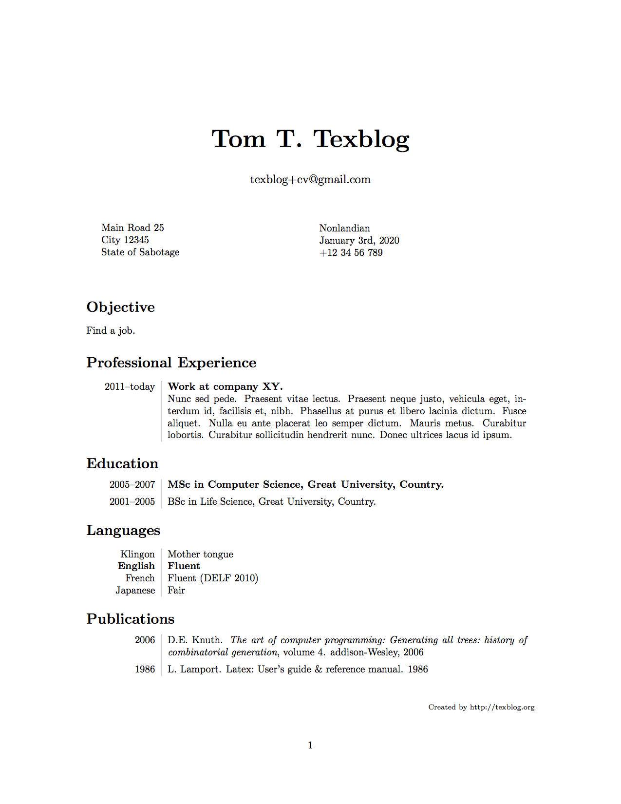 Scholarship Resume Template Cvtestfull  Latex Templates  Pinterest