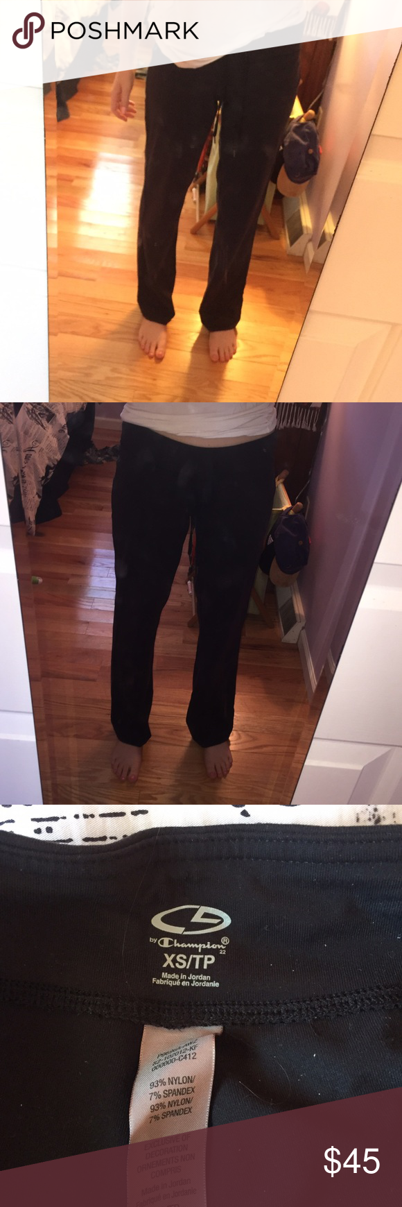 Champion sweat/yoga pants Super comfy black champion yoga pants, worn maybe 3 times and in perfect condition, OPEN TO ALL OFFERS Champion Pants Track Pants & Joggers