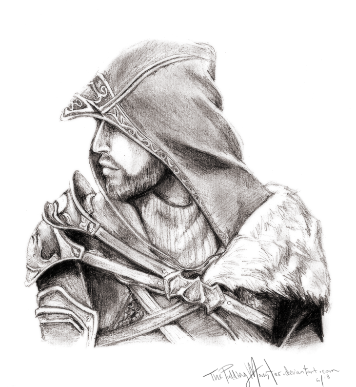 Нарисованные карандашом картинки ассасин крид